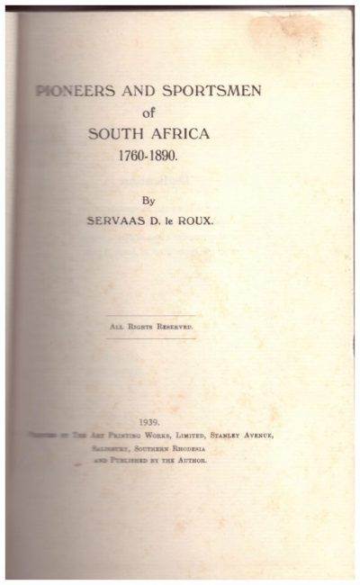 Pioneers and Sportsmen of South Africa